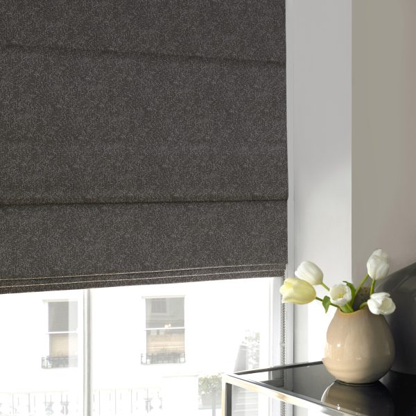 Ludlow Taupe Roman Blind with Blackout Lining