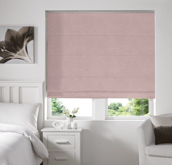 Keswick Baby Pink Roman Blind with Standard Lining