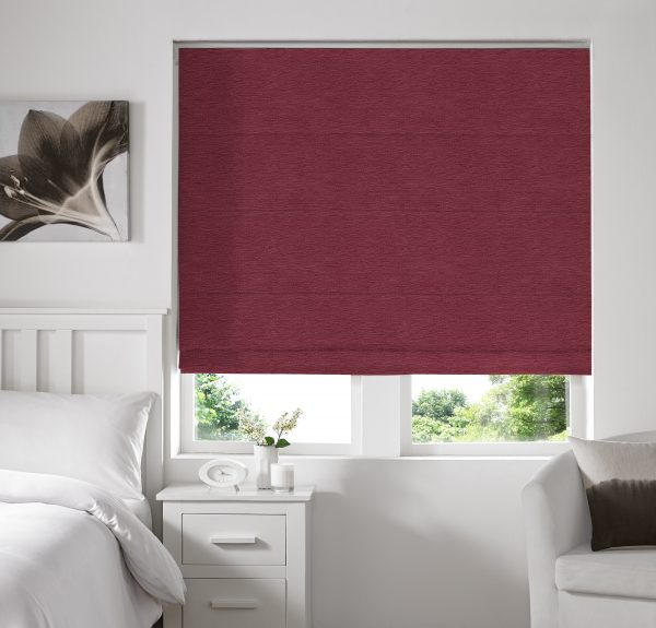 Keswick Mulberry Roman Blind with Blackout Lining