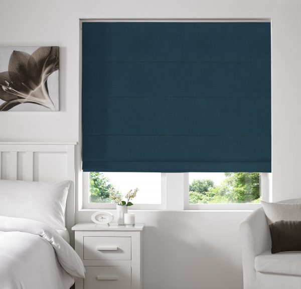 Keswick Teal Roman Blind with Blackout Lining