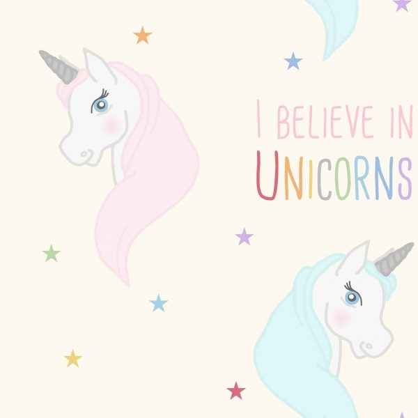 Believe in Unicorns Turquoise Roller Blind