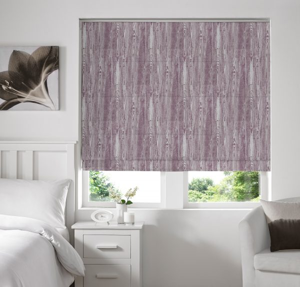 Alnwick Plum Roman Blind with Blackout Lining
