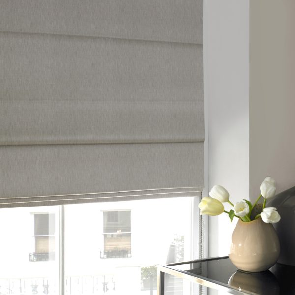 Skipton Silver Roman Blind with Standard Lining