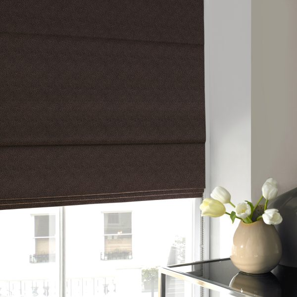 Hexham Chocolate Roman Blind with Standard Lining