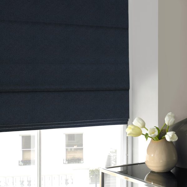 Hexham Midnight Roman Blind with Blackout Lining