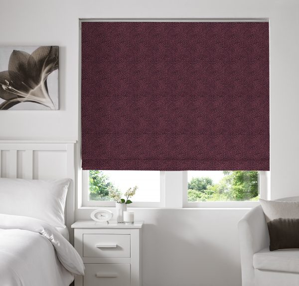 Hexham Mulberry Roman Blind with Blackout Lining