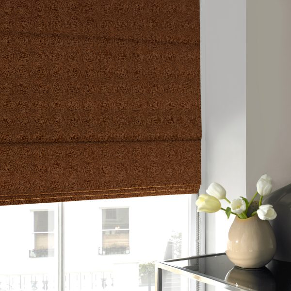 Hexham Rust Roman Blind with Blackout Lining
