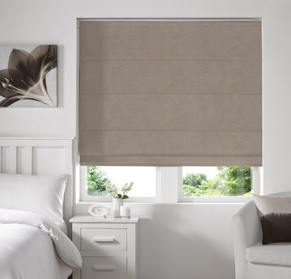 Hexham Taupe Roman Blind with Blackout Lining