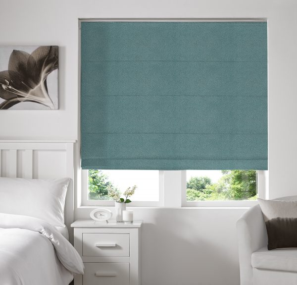 Hexham Teal Roman Blind with Standard Lining