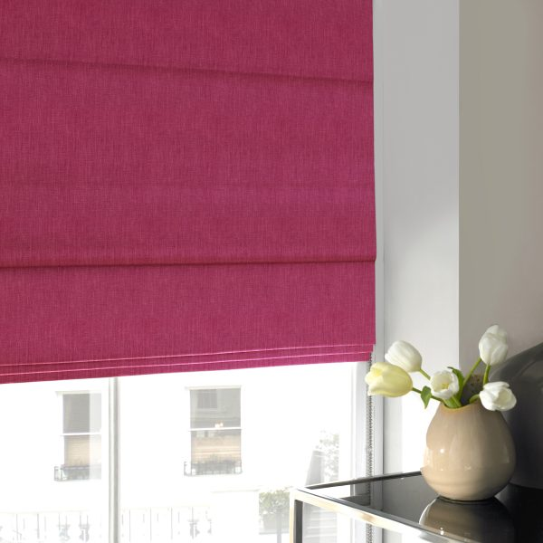 Stamford Fuchsia Roman Blind with Blackout Lining