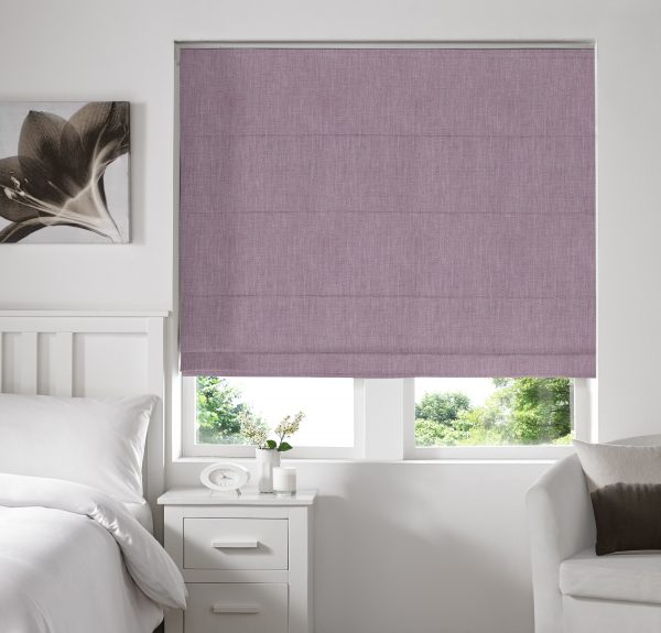 Stamford Heather Roman Blind with Standard Lining